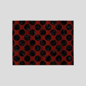 CIRCLES2 BLACK MARBLE & REDDISH-BRO 5'x7'Area Rug