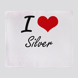 I Love Silver Throw Blanket