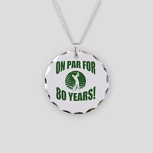 Golfer's 80th Birthday Necklace Circle Charm