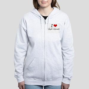 I Love Simple Interests Women's Zip Hoodie