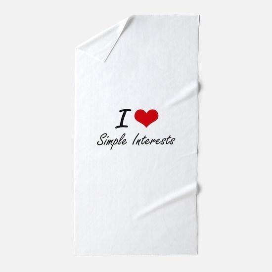 I Love Simple Interests Beach Towel