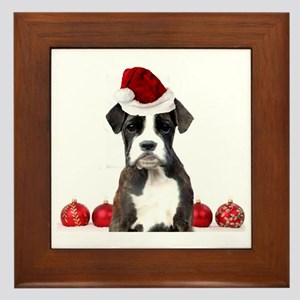 Christmas Boxer Dog Framed Tile