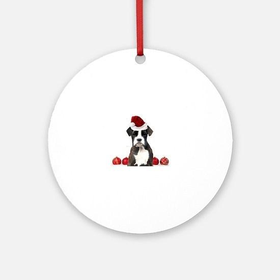 Christmas Boxer Dog Round Ornament