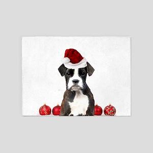 Christmas Boxer Dog 5'x7'Area Rug
