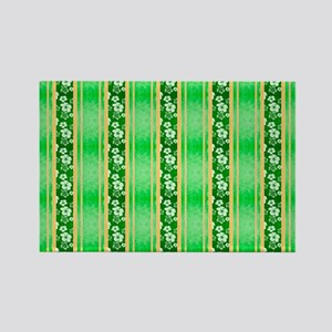 Green Hawaiian Flowers And Turtle Stripes Magnets