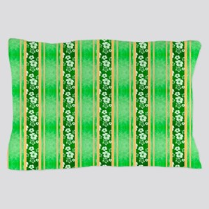 Green Hawaiian Flowers And Turtle Stripes Pillow C