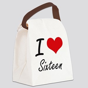 I Love Sixteen Canvas Lunch Bag