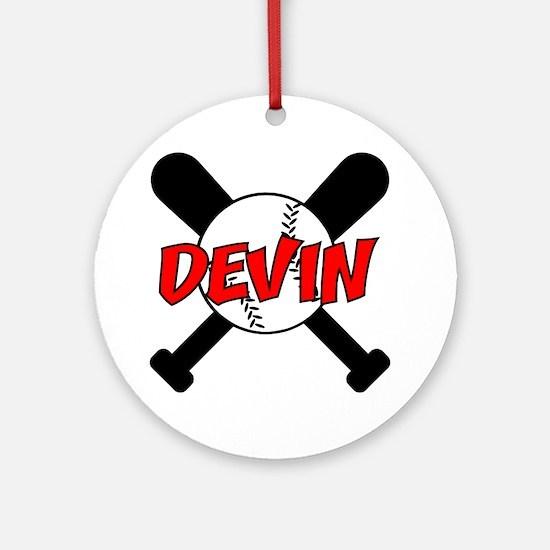 Devin Baseball Ornament (Round)