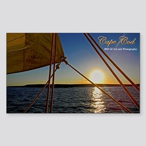 Cape Cod Sailboat Sunset Sticker (rectangle)