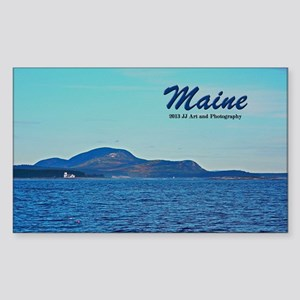 Maine Lighthouse And Mountain Sticker (rectangle)