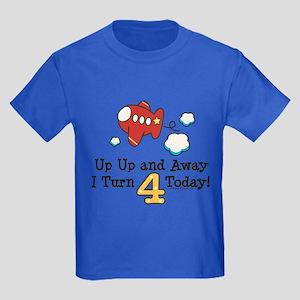 4th Birthday Airplane Kids Dark T-Shirt