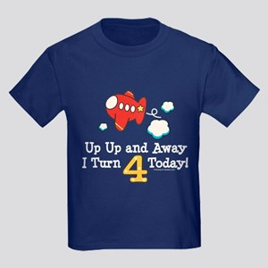 4th Birthday Airplane Kids Dark T-Shirt