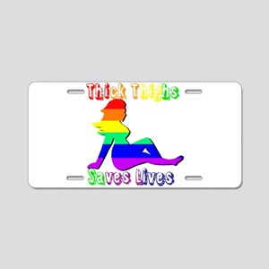 Thick thighs Save Lives Aluminum License Plate