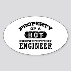 Property of a Hot Computer Engineer Sticker (Oval)