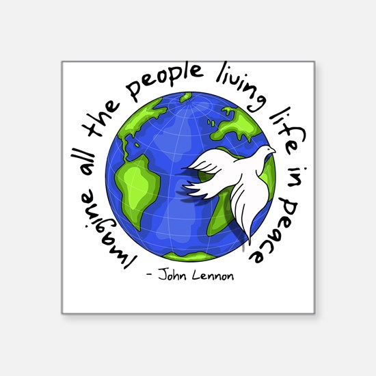 "Cute Peace Square Sticker 3"" x 3"""