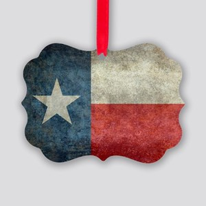 Texas state flag vintage retro st Picture Ornament