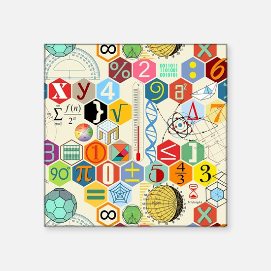 "Cute Math Square Sticker 3"" x 3"""