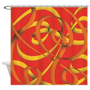 Gold Ribbon Shower Curtains