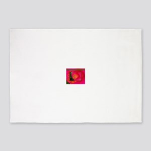 Flower-Art-Rare-Pink-Yellow-Stamen- 5'x7'Area Rug
