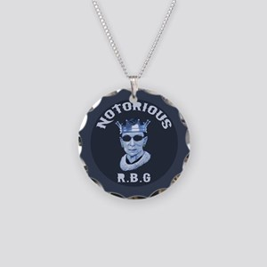 Notorious RBG III Necklace Circle Charm