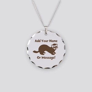 PERSONALIZED Ferret Graphic Necklace Circle Charm