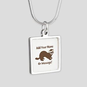 PERSONALIZED Ferret Graphi Silver Square Necklace