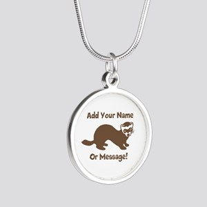 PERSONALIZED Ferret Graphic Silver Round Necklace