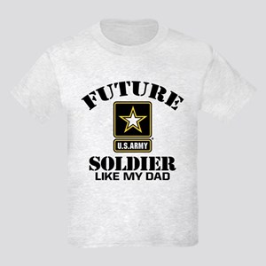 Future Army Soldier Like My Dad Kids Light T-Shirt