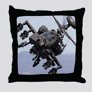 AH-64A/D, the Apache Attack Helicopte Throw Pillow