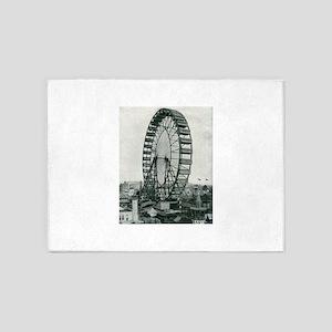Columbian Exposition Ferris Wheel 5'x7'Area Rug