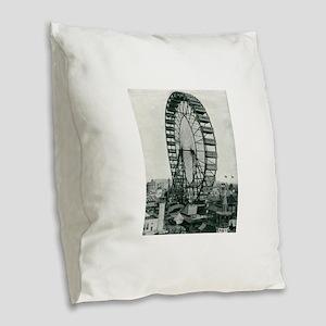 Columbian Exposition Ferris Wh Burlap Throw Pillow