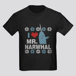 Mr. Narwhal Elf Sweater Print Kids Dark T-Shirt