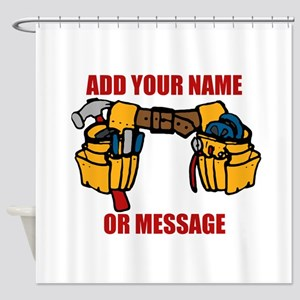 PERSONALIZED Tool Belt Graphic Shower Curtain