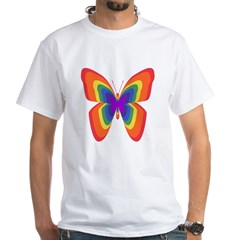 Rainbow Butterfly White T-Shirt
