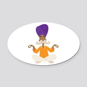 Yoga Man Oval Car Magnet