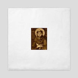 Saint Francis Portrait Queen Duvet