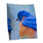 Bluebird Burlap Throw Pillow