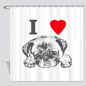 I Love Pugs Shower Curtain