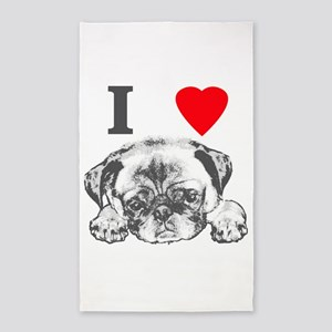 I Love Pugs Area Rug