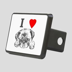 I Love Pugs Rectangular Hitch Cover