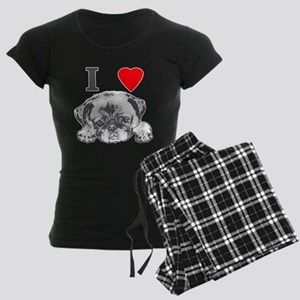 I Love Pugs Women's Dark Pajamas