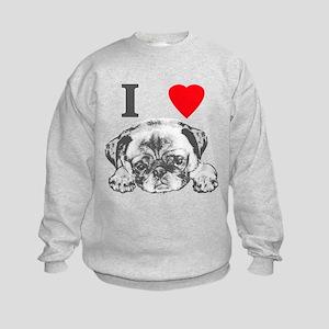 I Love Pugs Kids Sweatshirt