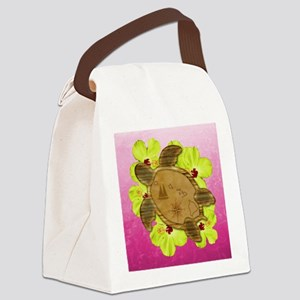 Pink Hawaiian Turtle Map Canvas Lunch Bag