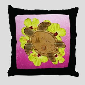 Pink Hawaiian Turtle Map Throw Pillow