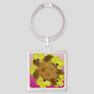 Pink Hawaiian Turtle Map Keychains