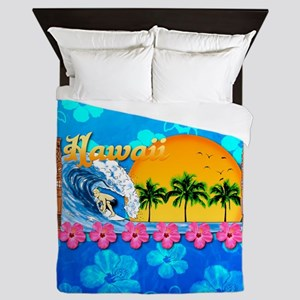Hawaiian Surfing And Turtle Pattern Queen Duvet