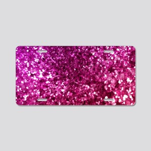 Pretty Pink Glitter Aluminum License Plate