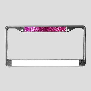 Pretty Pink Glitter License Plate Frame