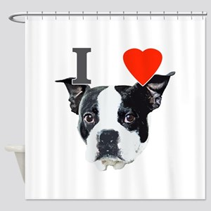 I Love Boston Terriers Shower Curtain