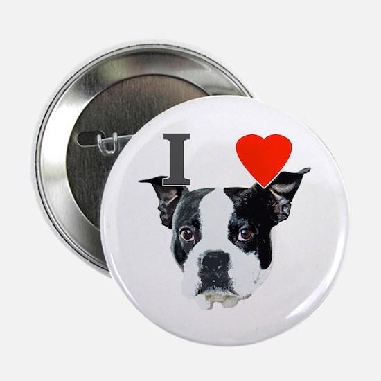 "I Love Boston Terriers 2.25"" Button"